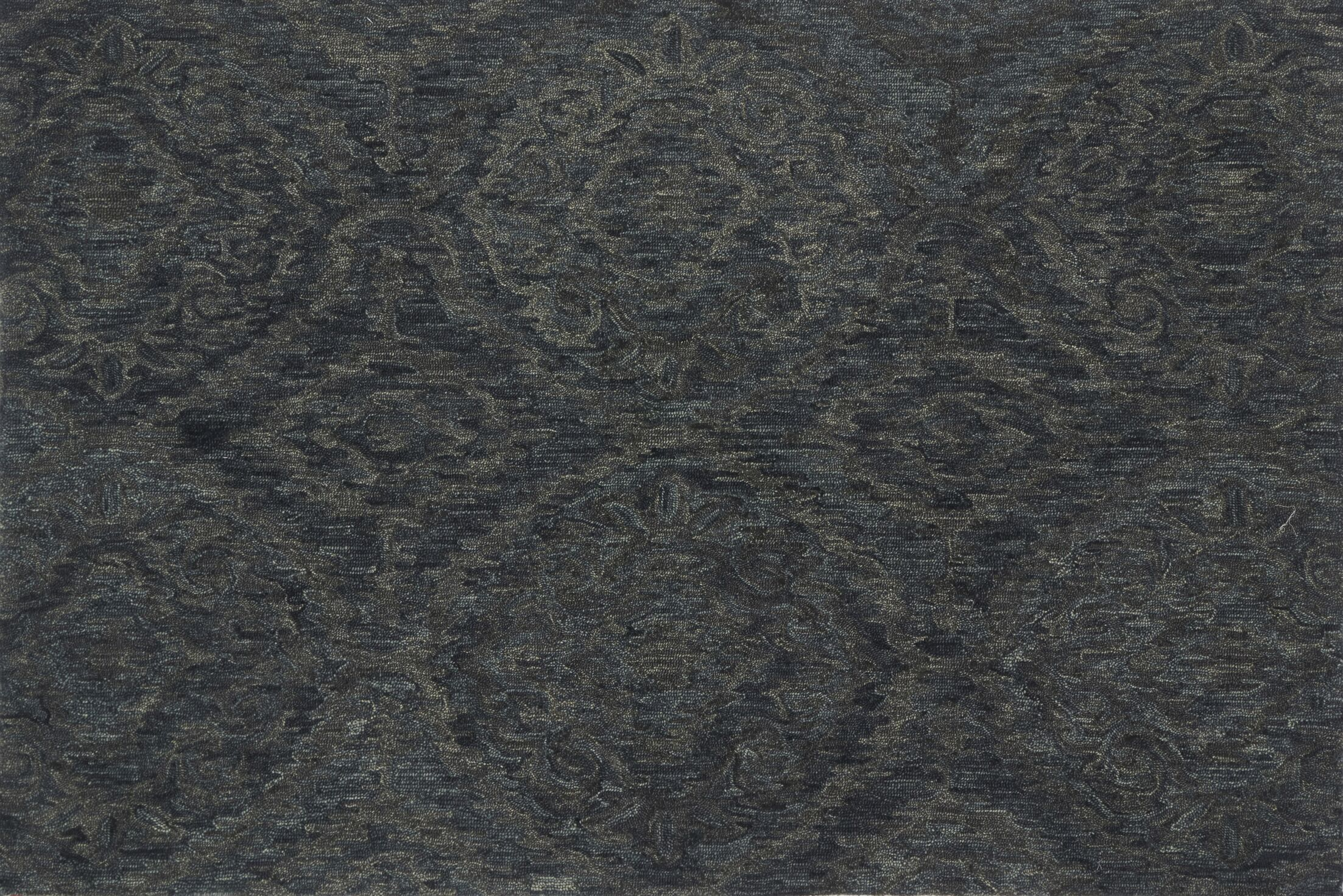 Cherrelle Hand-Hooked Wool Ink Area Rug Rug Size: Rectangle 3'6