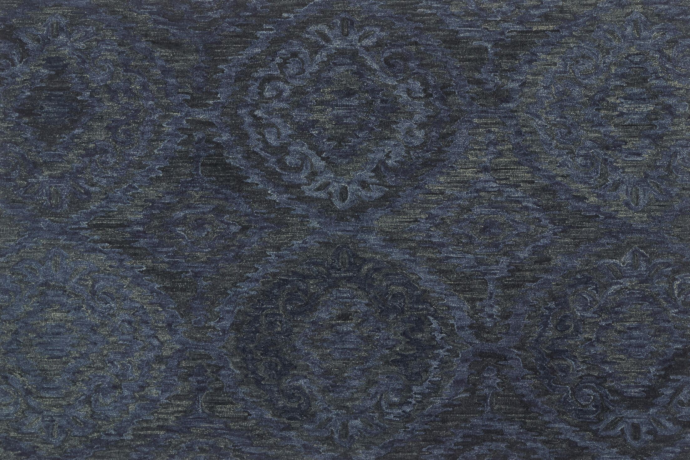 Cherrelle Hand-Hooked Wool Navy Area Rug  Rug Size: Rectangle 5' x 7'6
