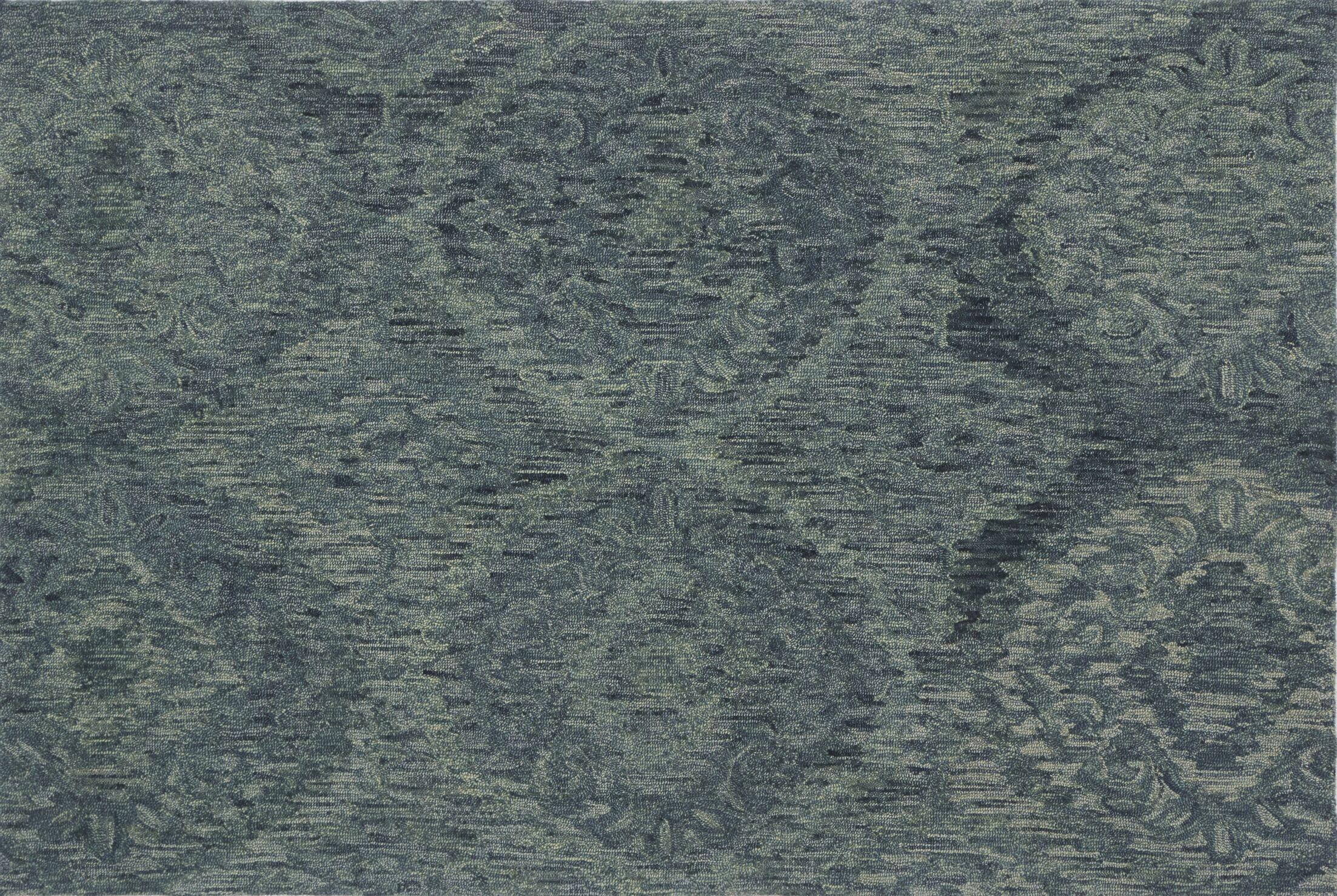 Cherrelle Hand-Hooked Wool Teal Area Rug Rug Size: Rectangle 5' x 7'6