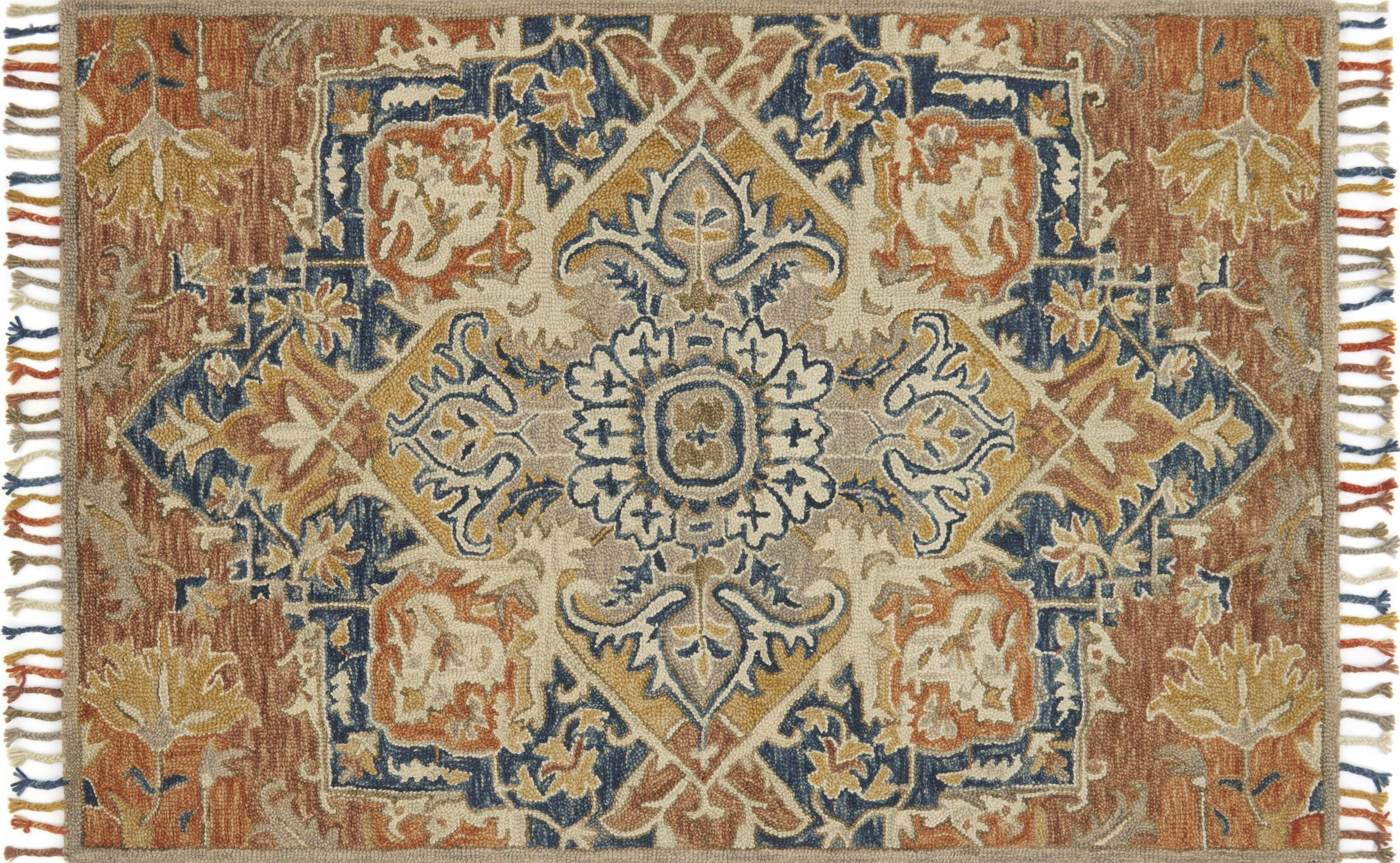 Jovany Hand-Hooked Wool Rust/Blue Area Rug Rug Size: Rectangle 7'9