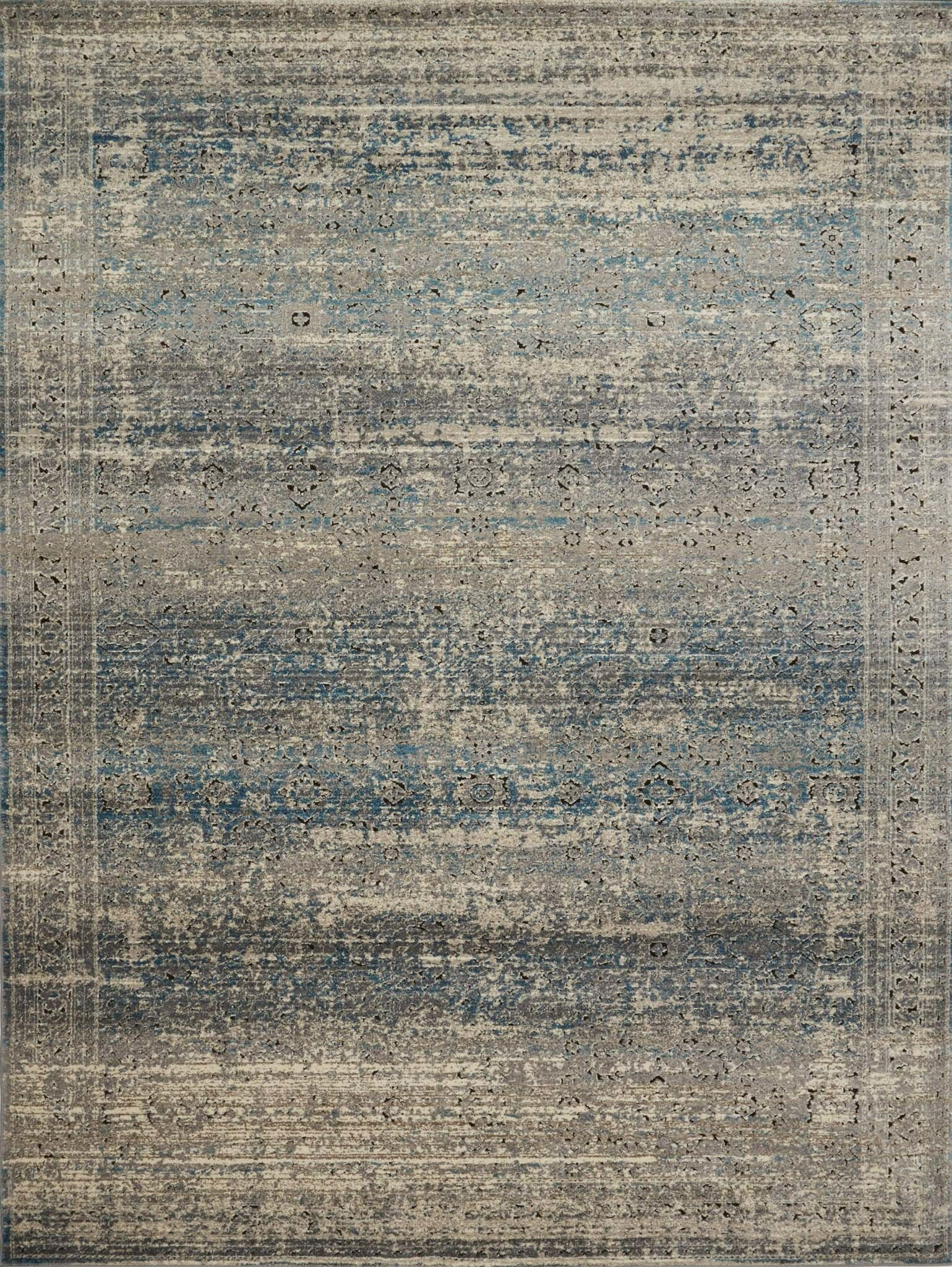 Diez Gray/Blue Area Rug Rug Size: Rectangle 3'7
