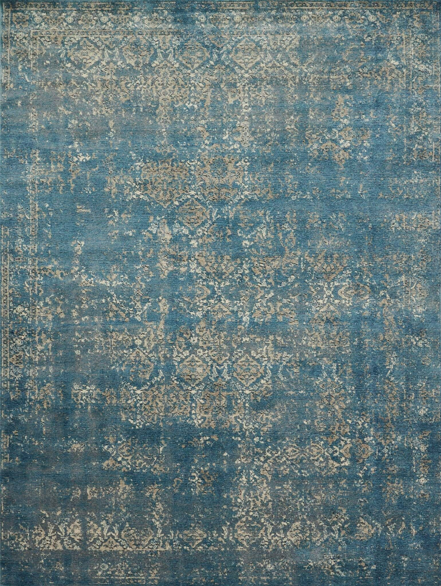 Diez Blue/Taupe Area Rug Rug Size: Rectangle 5'3