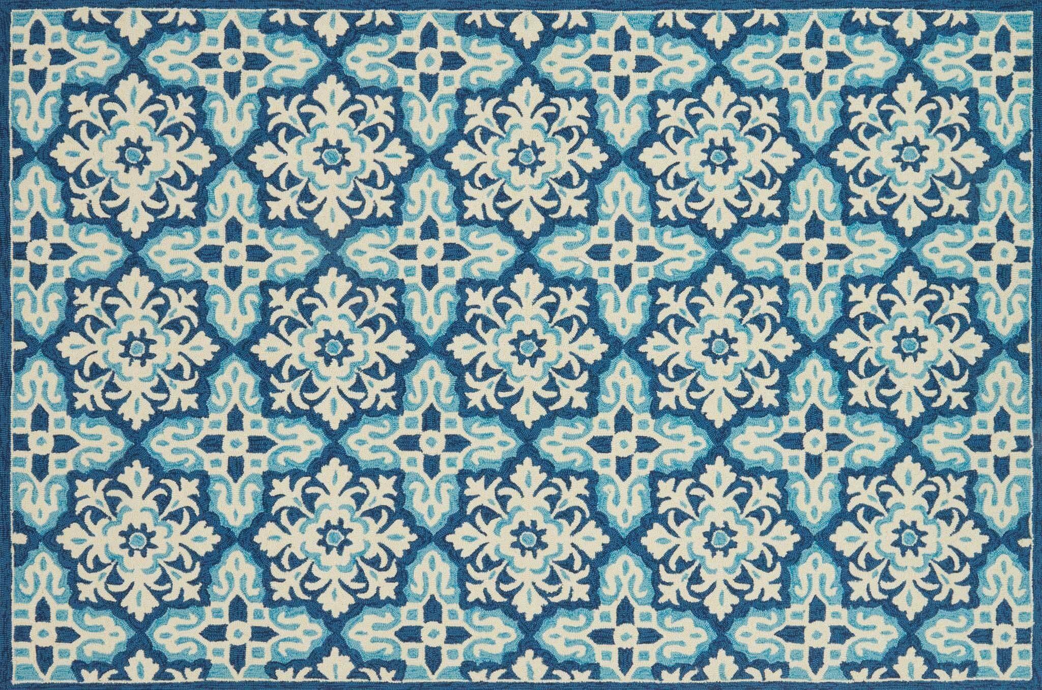 Duvig Hand-Hooked Ivory/Blue Area Rug Rug Size: Rectangle 7'6