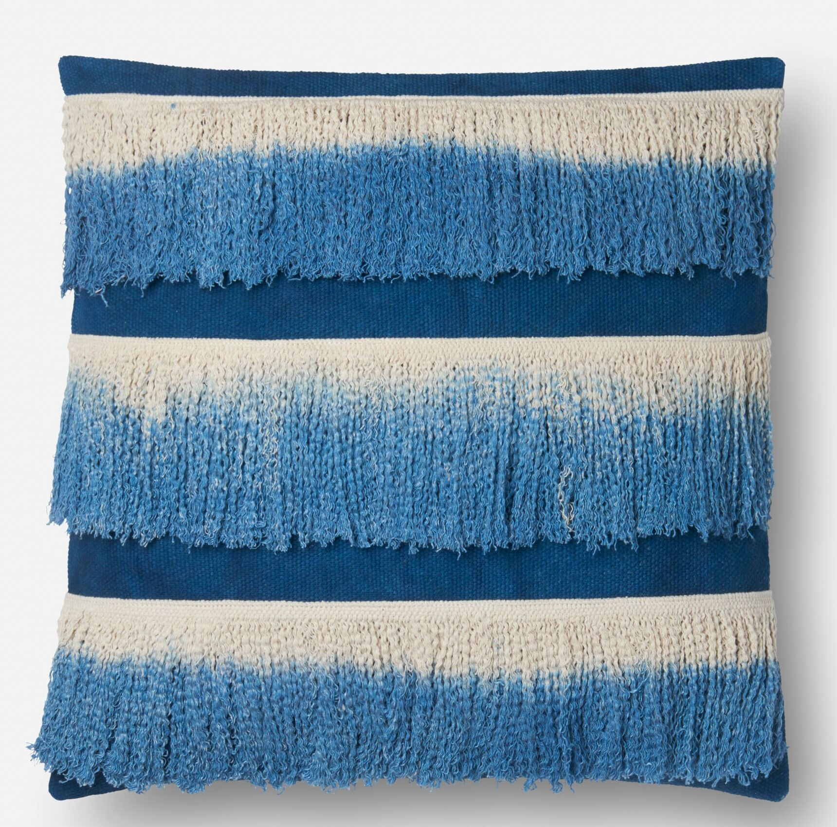 Cambra Cotton Throw Pillow Fill Material: Down/Feather, Color: Blue / Ivory, Type: Pillow