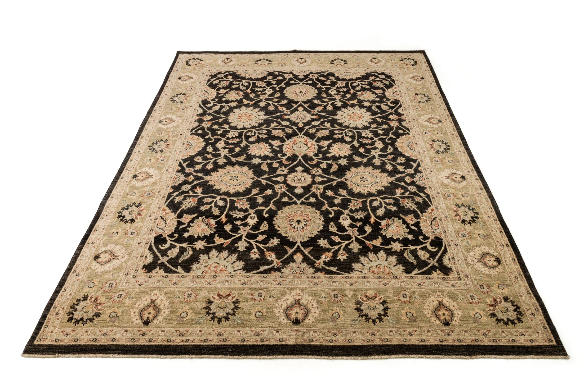 Durden Hand-Knotted Black/Ivory Area Rug Rug Size: Rectangle 8'6