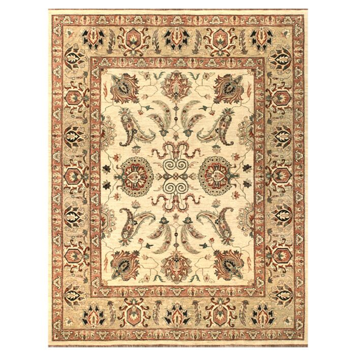 Durden Hand-Knotted Ivory/Gold Area Rug Rug Size: Rectangle 8'6