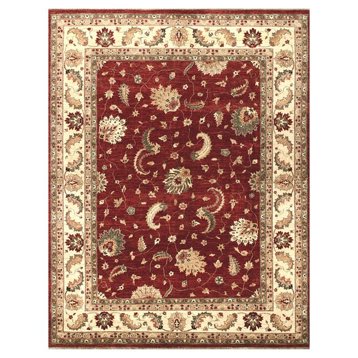 Durden Hand-Knotted Red/Ivory Area Rug Rug Size: Rectangle 8'6