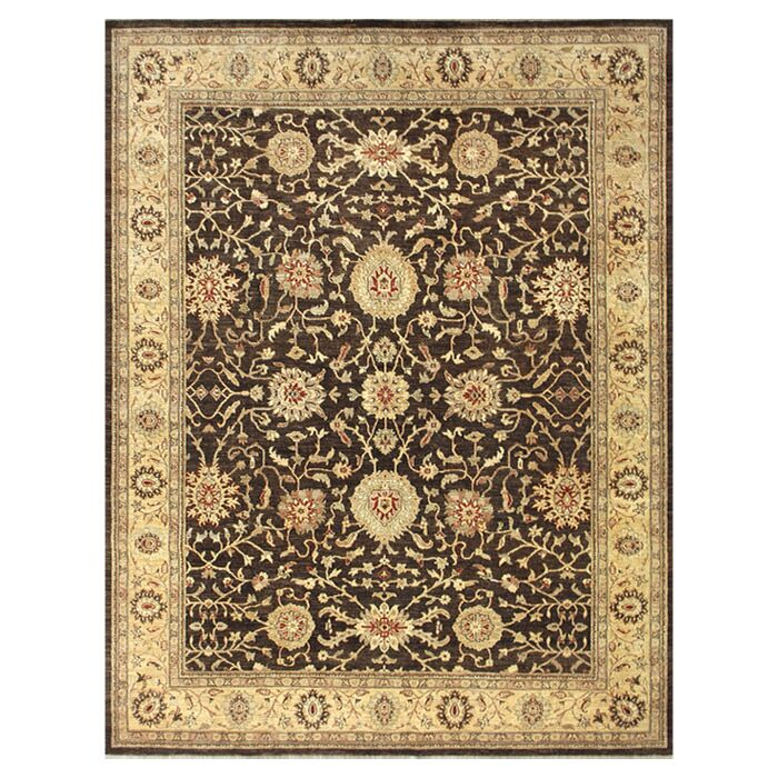 Durden Hand-Knotted Chocolate/Gold Area Rug Rug Size: Rectangle 4' x 6'