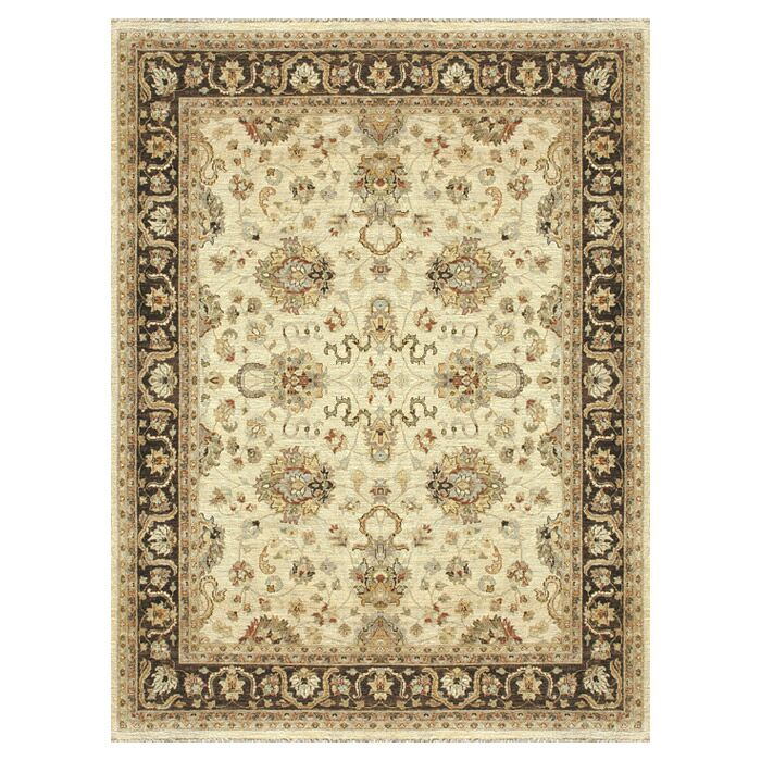 Durden Hand-Knotted Ivory/Mocha Area Rug Rug Size: Rectangle 5'6