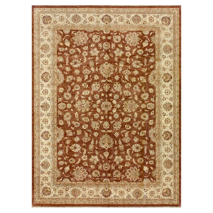 Durden Hand-Knotted Rust/Ivory Area Rug Rug Size: Rectangle 8'6
