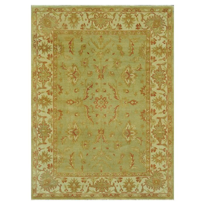 Kirtley Hand-Knotted Green/Olive Area Rug Rug Size: Rectangle 12' x 15'