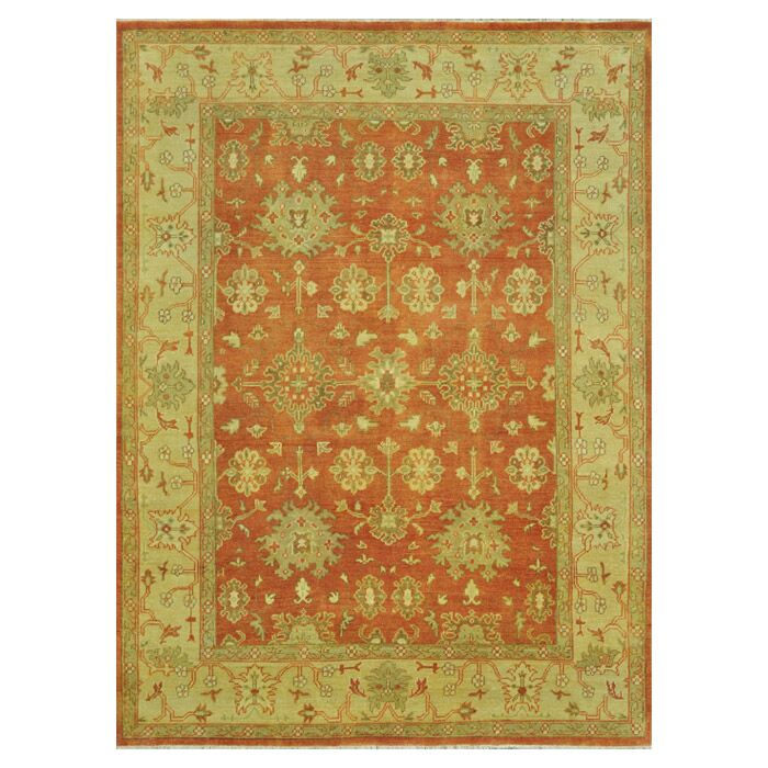 Kirtley Hand-Knotted Gold/Orange Area Rug Rug Size: Rectangle 5'6