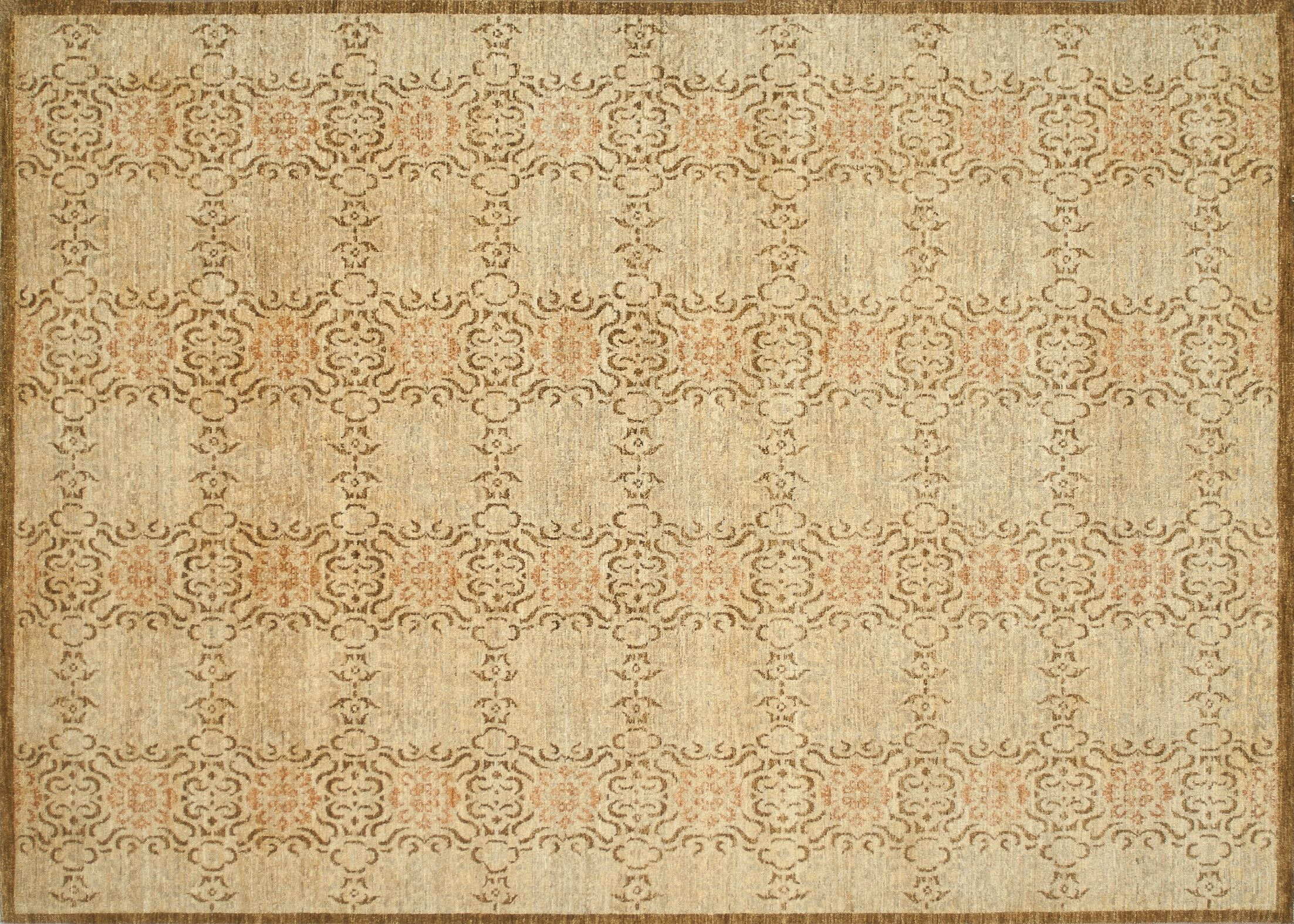 Kennith Hand-Knotted Beige Area Rug Rug Size: Rectangle 12' x 15'