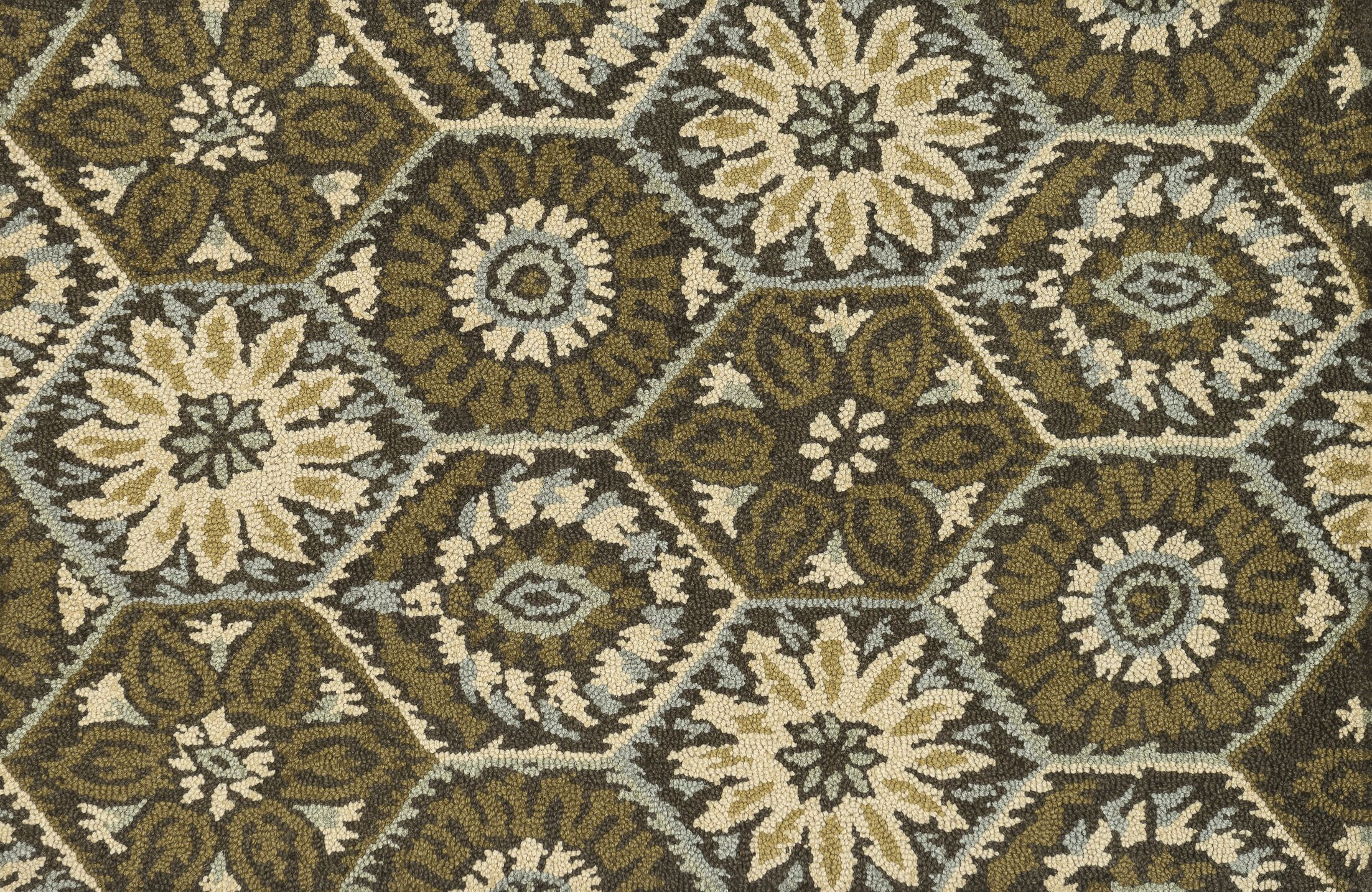 Keffer Hand-Hooked Brown/Green Area Rug Rug Size: Rectangle 7'10