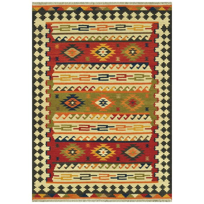 Palu Hand-Woven Green/Red/Yellow Area Rug Rug Size: Rectangle 5' x 7'6
