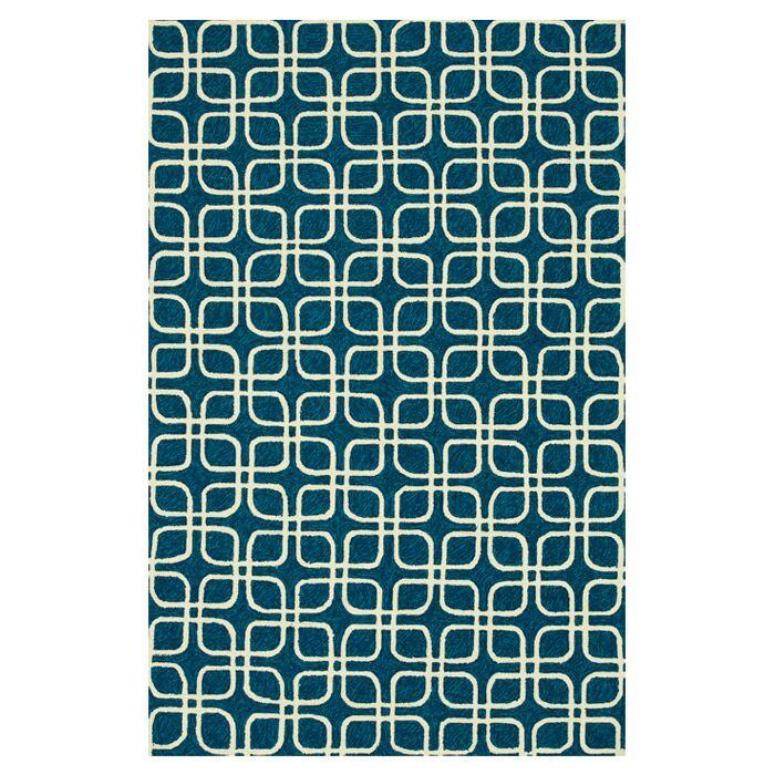 Danko Hand-Hooked Blue/Ivory Indoor/Outdoor Area Rug Rug Size: Rectangle 3'6