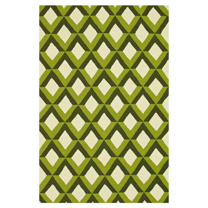 Danko Hand-Hooked Green/Ivory Indoor/Outdoor Area Rug Rug Size: Rectangle 7'6