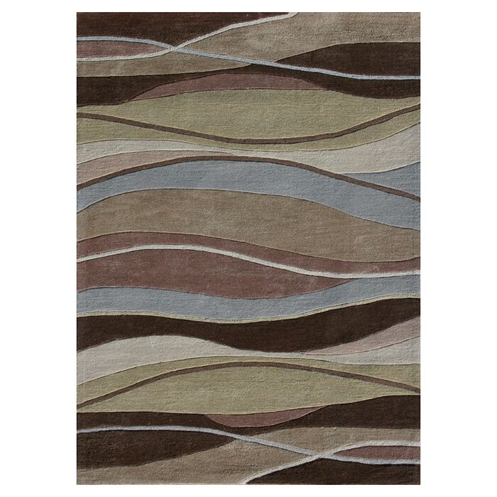 Hixon Hand-Tufted Brown/Blue/Beige Area Rug Rug Size: Rectangle 5' x 7'6