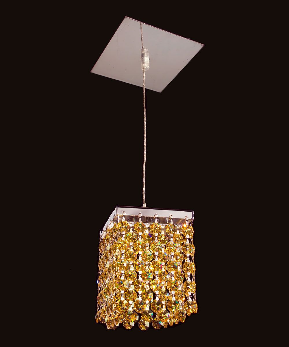 Bedazzle 1-Light Crystal Pendant Shade Color: Light Topaz