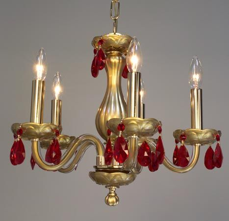 Monaco 5-Light Candle Style Chandelier Finish: Gold Painted, Crystal: Crystalique Red