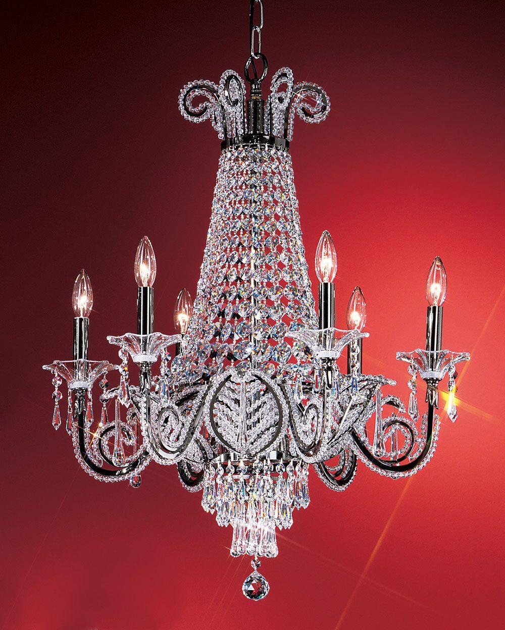 Beaded Leaf 6-Light Empire Chandelier Crystal: Drops Clear Swarovski Spectra, Finish: Ebony Pearl