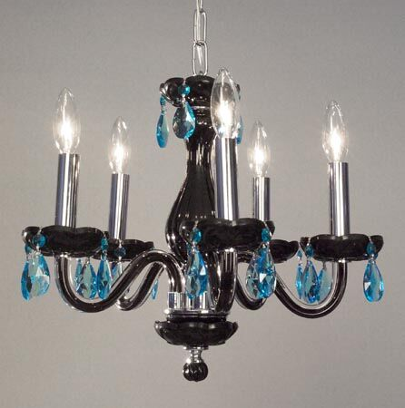 Monaco 5-Light Candle Style Chandelier Finish: Black, Crystal: Crystalique Sapphire