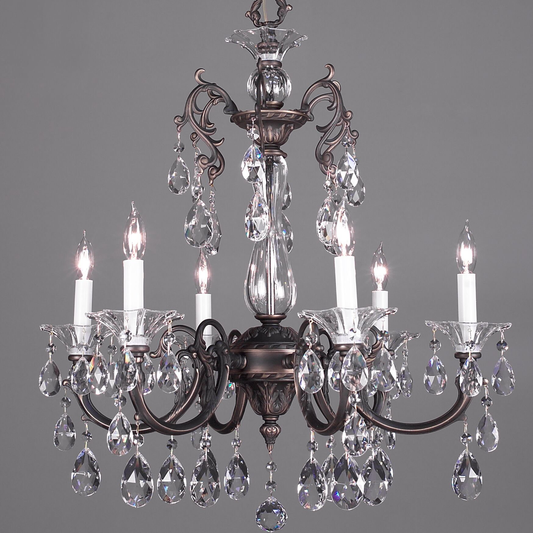 Via Lombardi 6-Light Candle Style Chandelier Crystal Type: Crystalique Black, Finish: 24k Gold Plate