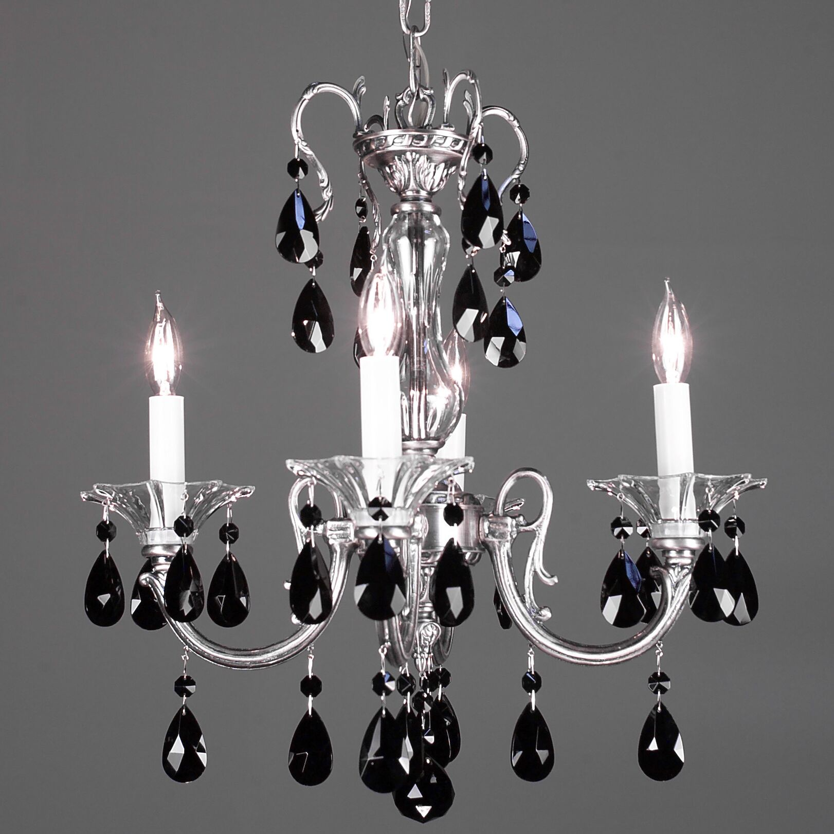Via Lombardi 4-Light Candle Style Chandelier Crystal Type: Crystalique-Plus, Finish: Ebony Pearl