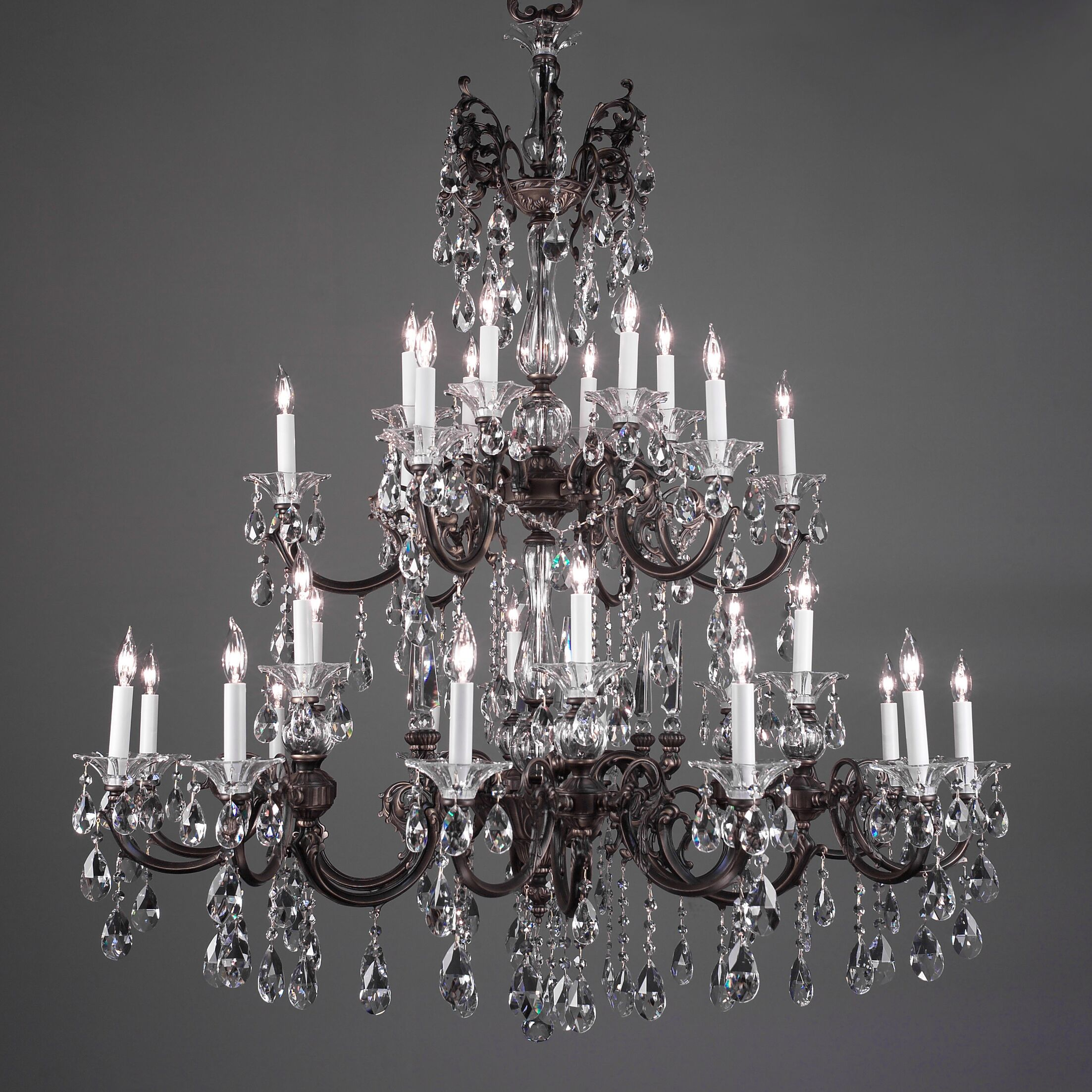 Via Lombardi 30-Light Candle Style Chandelier Crystal Type: Crystalique Golden Teak, Finish: Roman Bronze