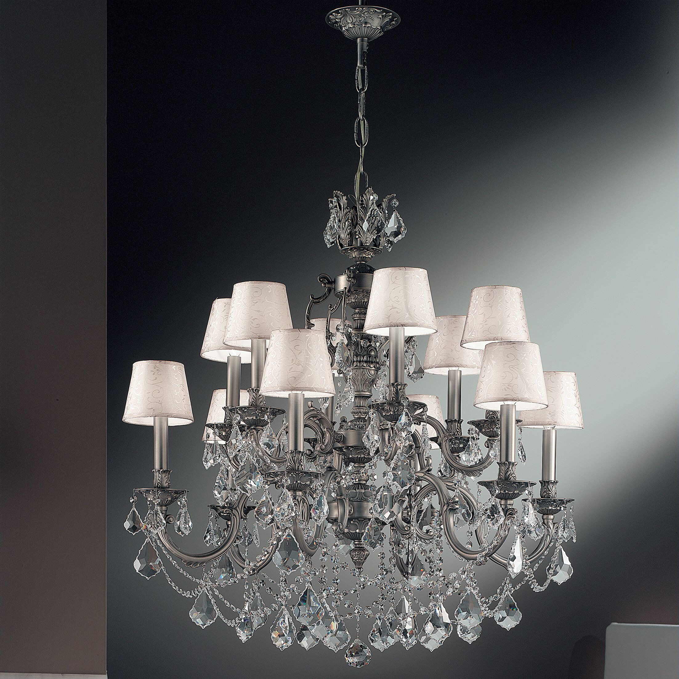 Chateau Imperial 12-Light Shaded Chandelier Crystal Type: Swarovski Elements Golden Teak, Finish: French Gold