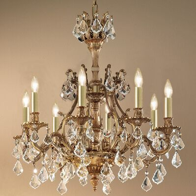 Majestic 8-Light Candle Style Chandelier Finish: Aged Bronze, Crystal Type: Swarovski Elements Golden Teak