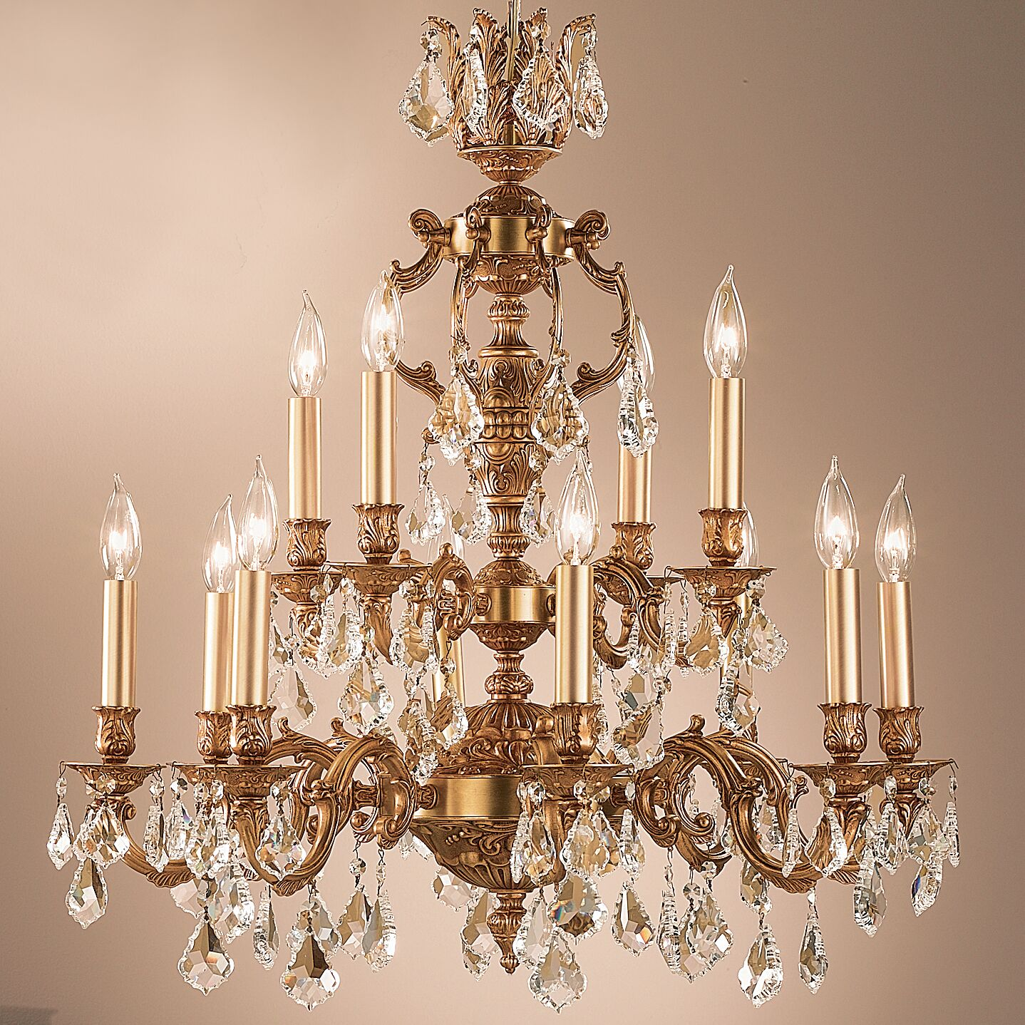 Chateau 12-Light Candle Style Chandelier Crystal Type: Swarovski Spectra, Finish: French Gold