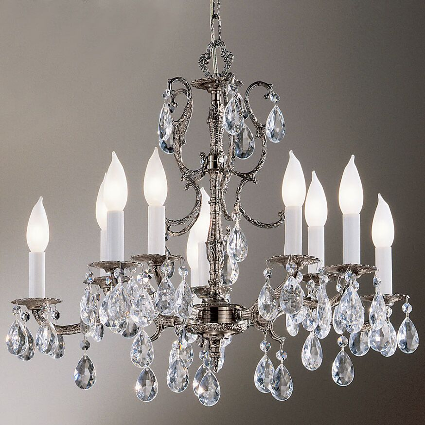 Barcelona 10-Light Candle Style Chandelier Crystal: Clear, Finish: Millenium Silver
