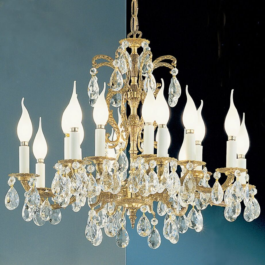 Barcelona 16-Light Candle Style Chandelier Crystal: Italian, Finish: Olde World Bronze
