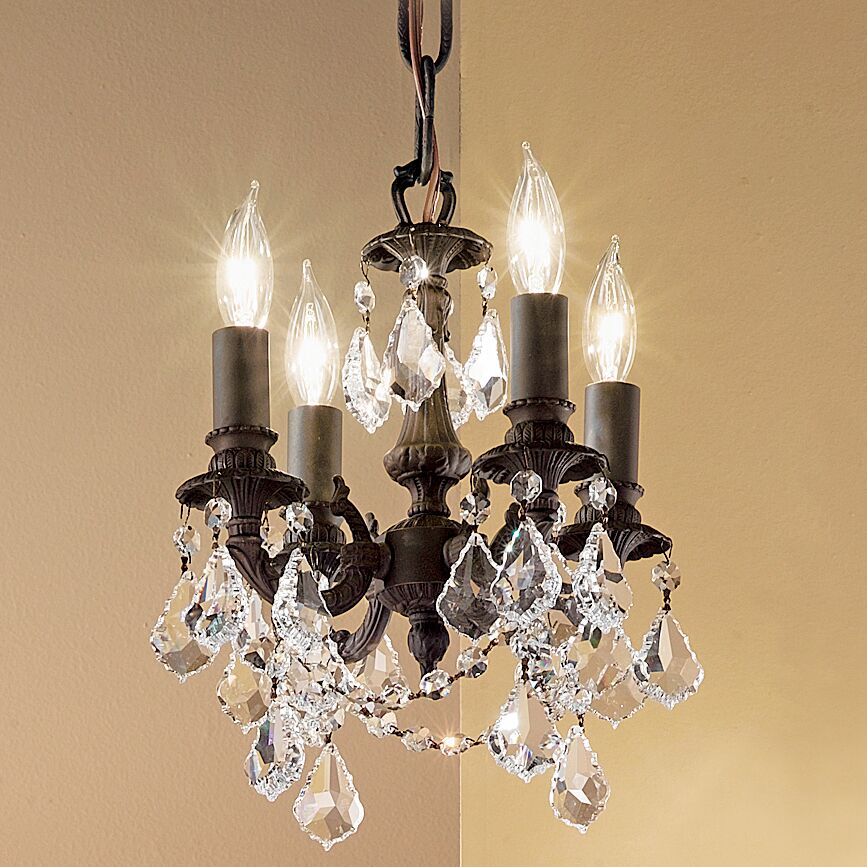 Majestic Imperial 4-Light Candle Style Chandelier Crystal Type: Crystalique-Plus, Finish: Aged Pewter