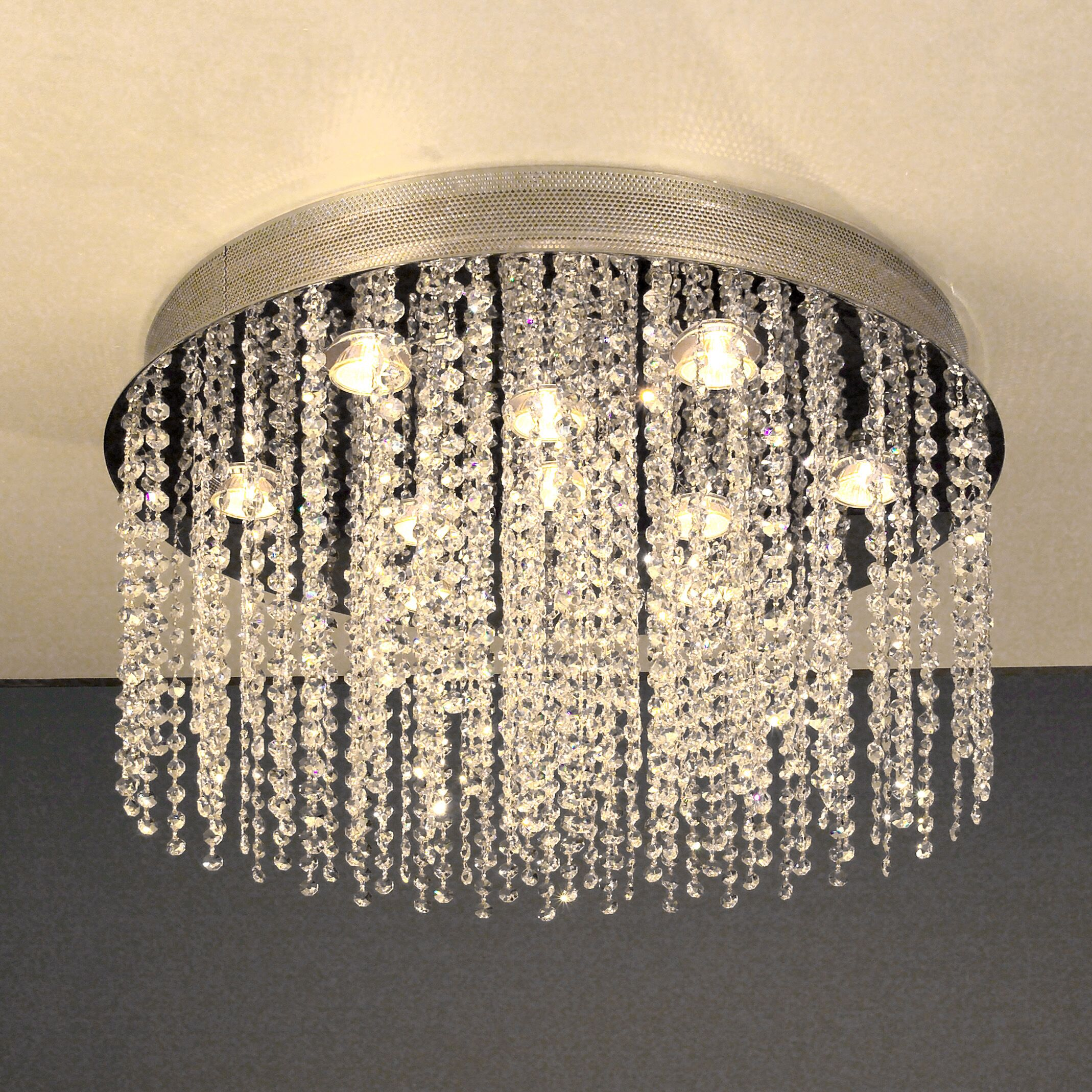 Crystal Rain 10-Light Flush Mount Crystal Type: Crystalique-Plus, Height: 108