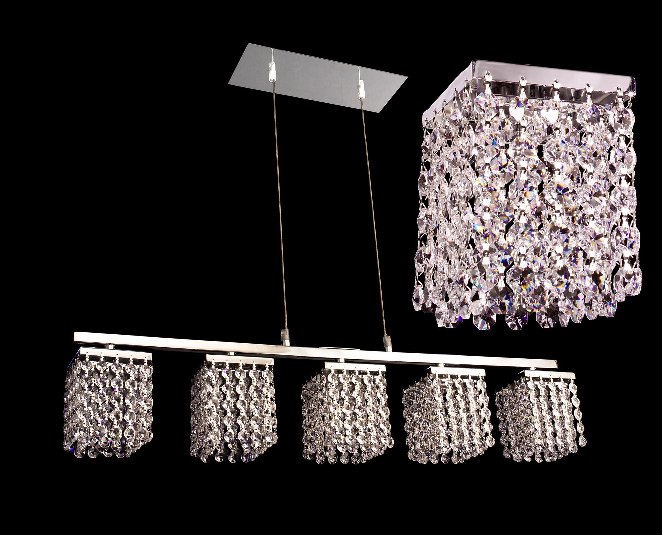 Bedazzle 5-Light Kitchen Island Pendant Crystal: Crystalique-Plus Pink and Clear