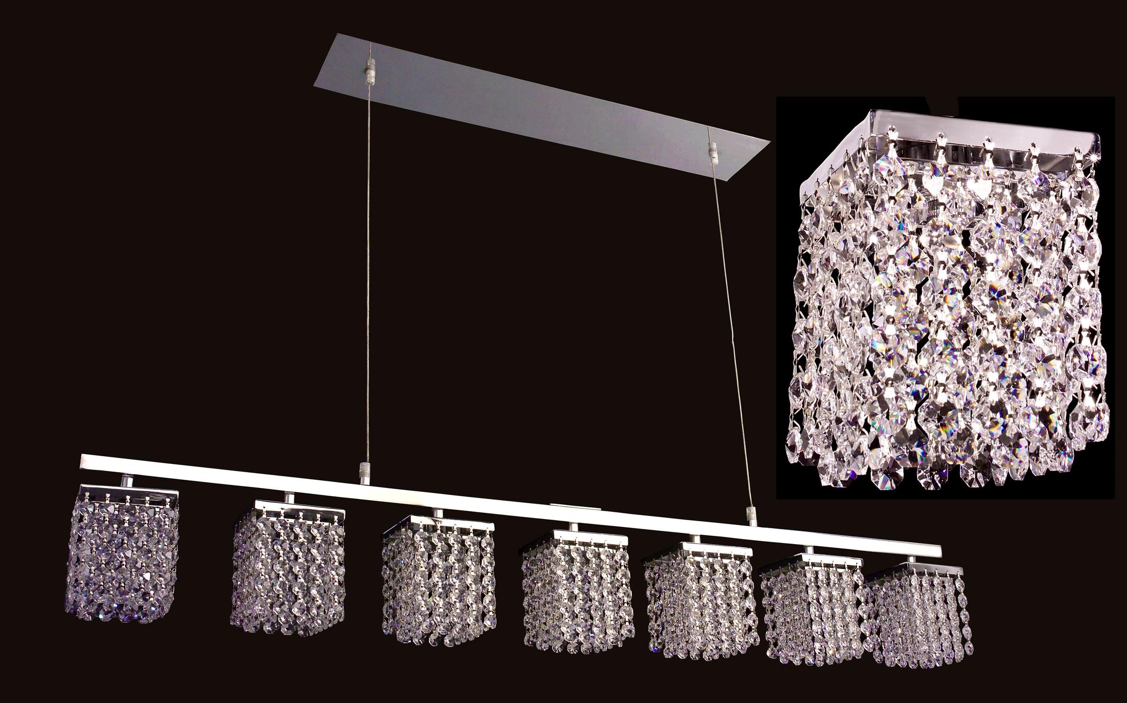Bedazzle 7-Light Kitchen Island Pendant Crystal: Swarovski Elements Light Topaz and Clear