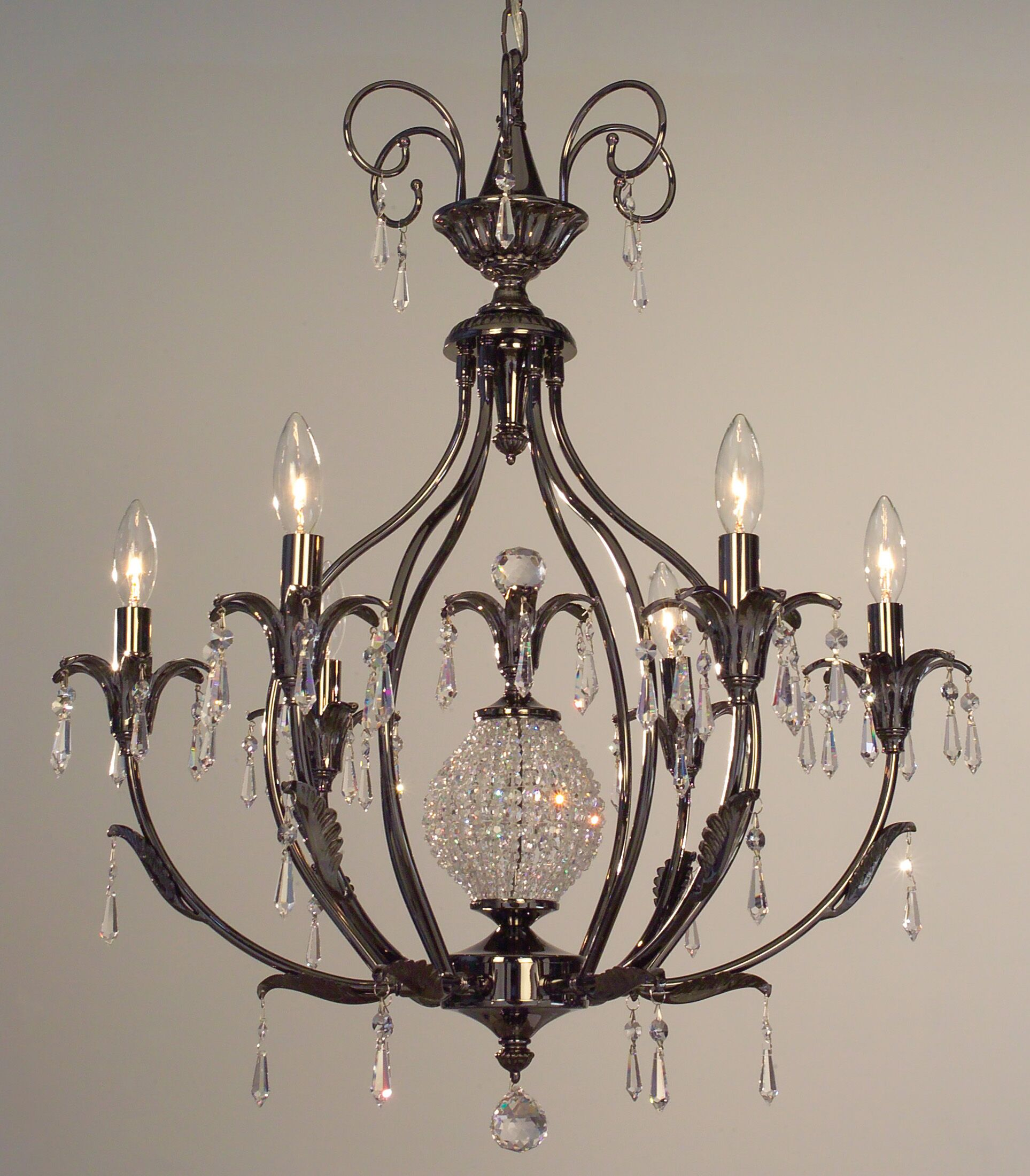 Sharon 6-Light Candle Style Chandelier Crystal Type: Crystalique-Plus, Finish: Ebony Pearl