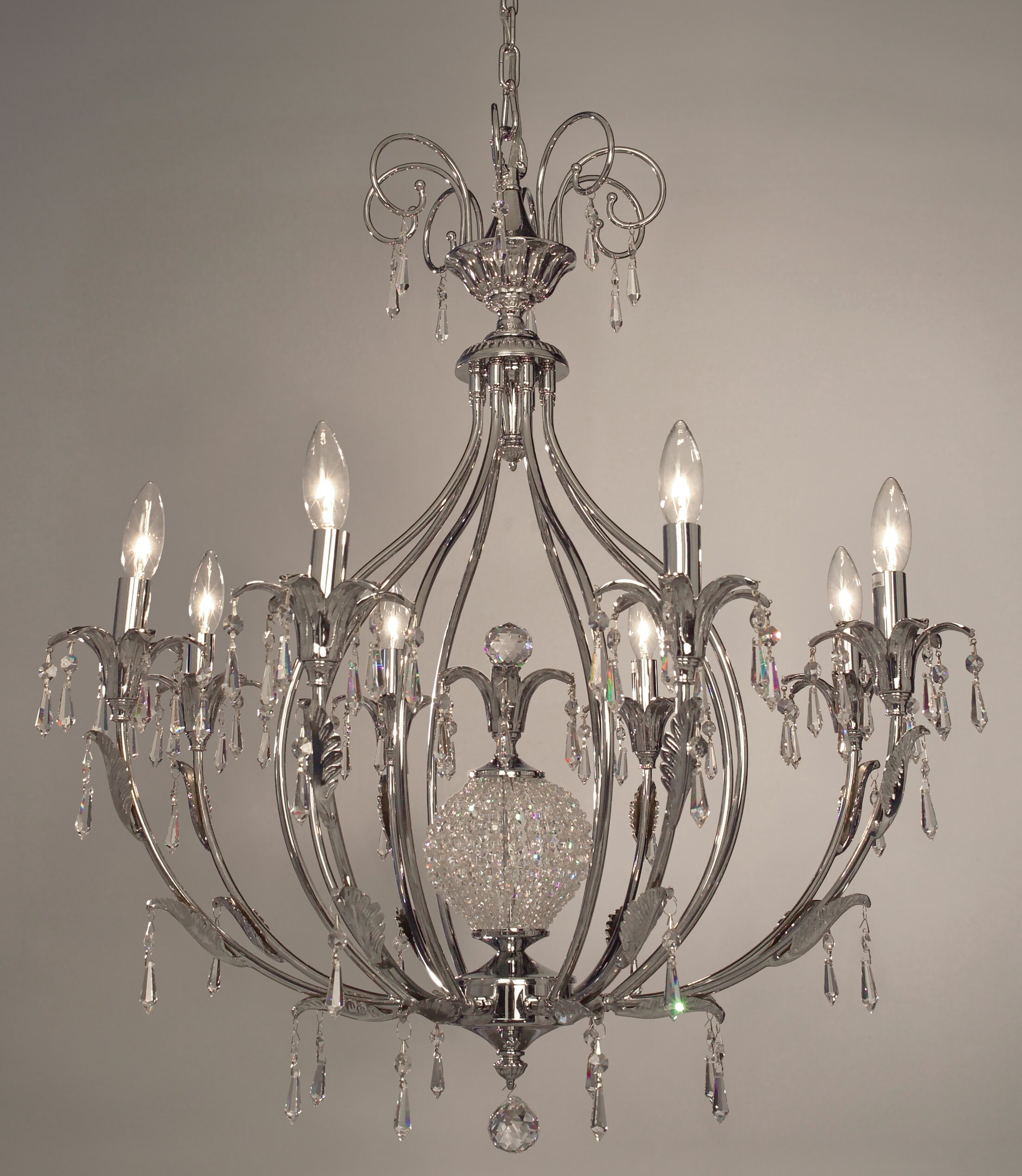 Sharon 8-Light Candle Style Chandelier Finish: Antique Brass, Crystal Type: Swarovski Elements