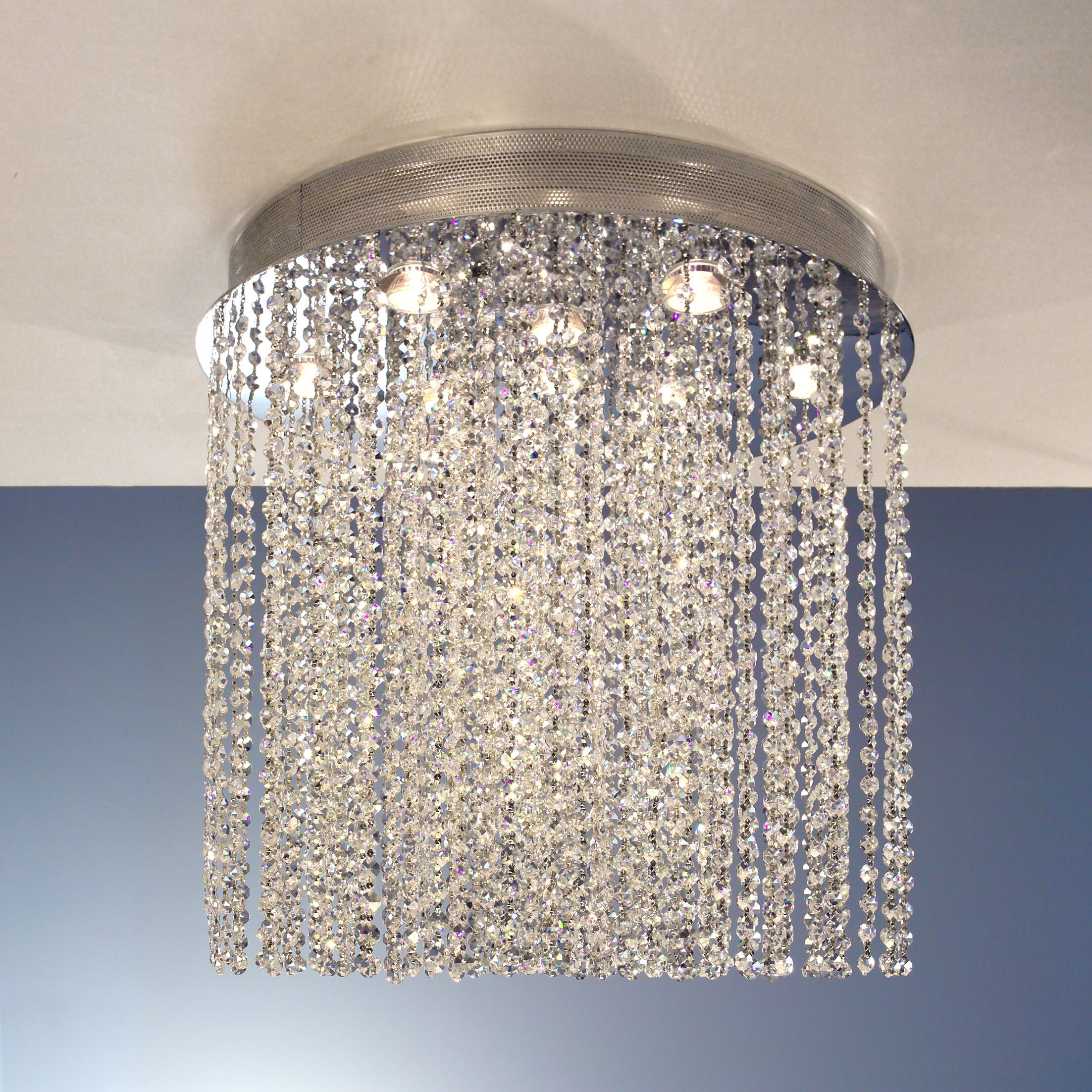 Crystal Rain 10-Light Flush Mount Height: 24