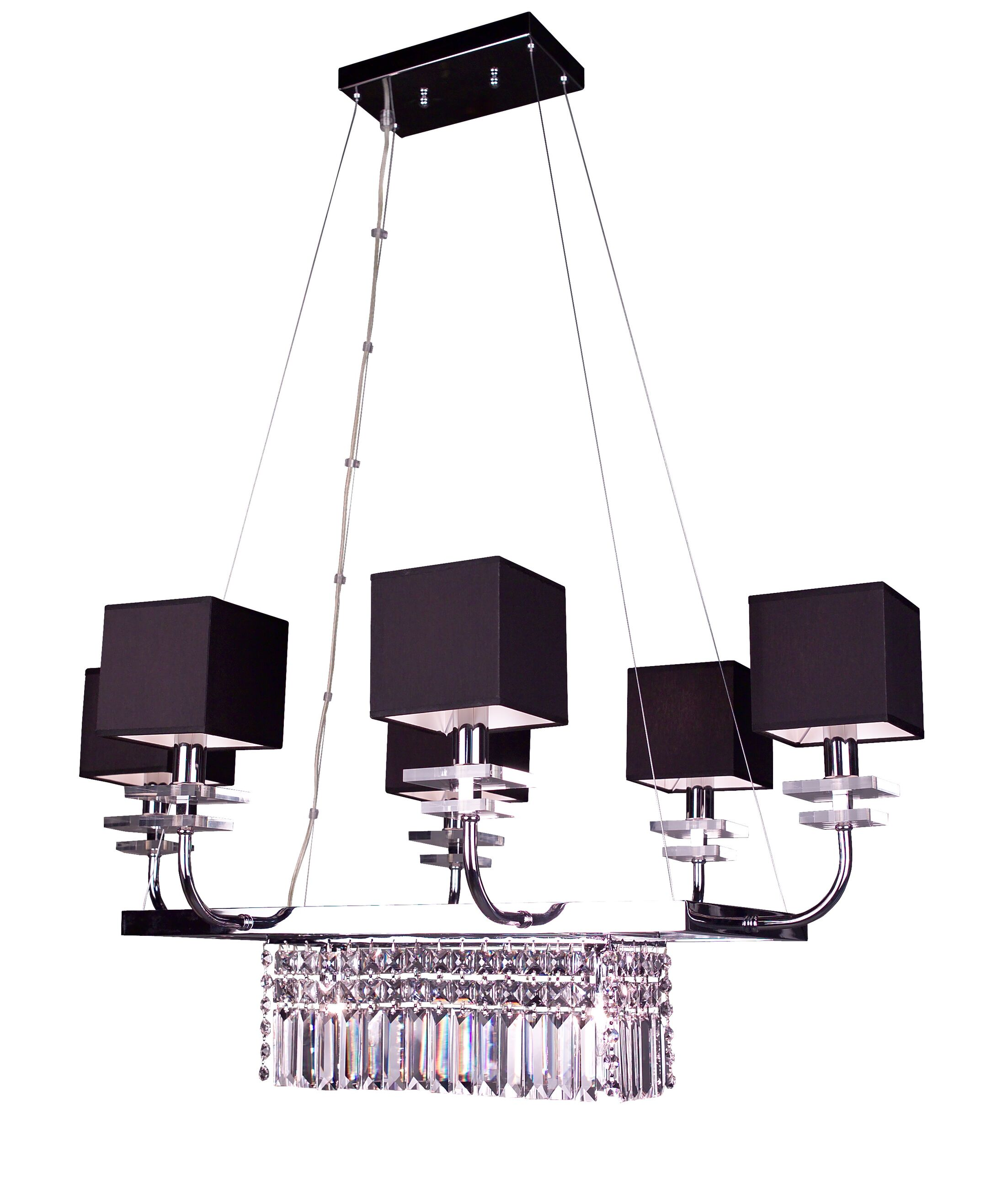Quadrille 8-Light Shaded Chandelier Finish: Black, Crystal Type: Crystalique Plus Rectangles