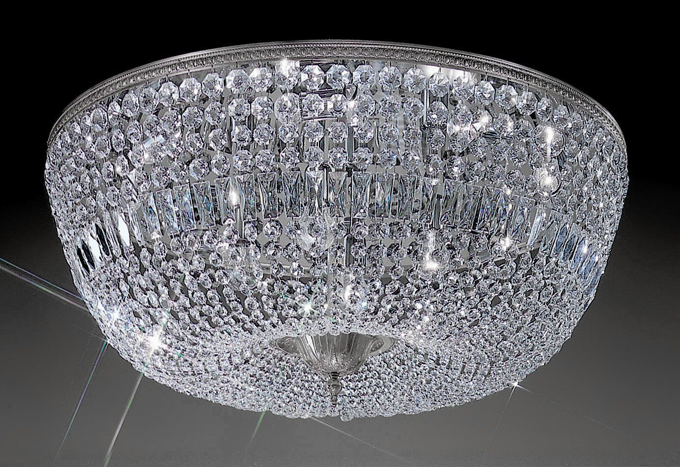 Genevieve 12-Light Semi-Flush Mount Crystal Type: Crystalique-Plus, Finish: Roman Bronze