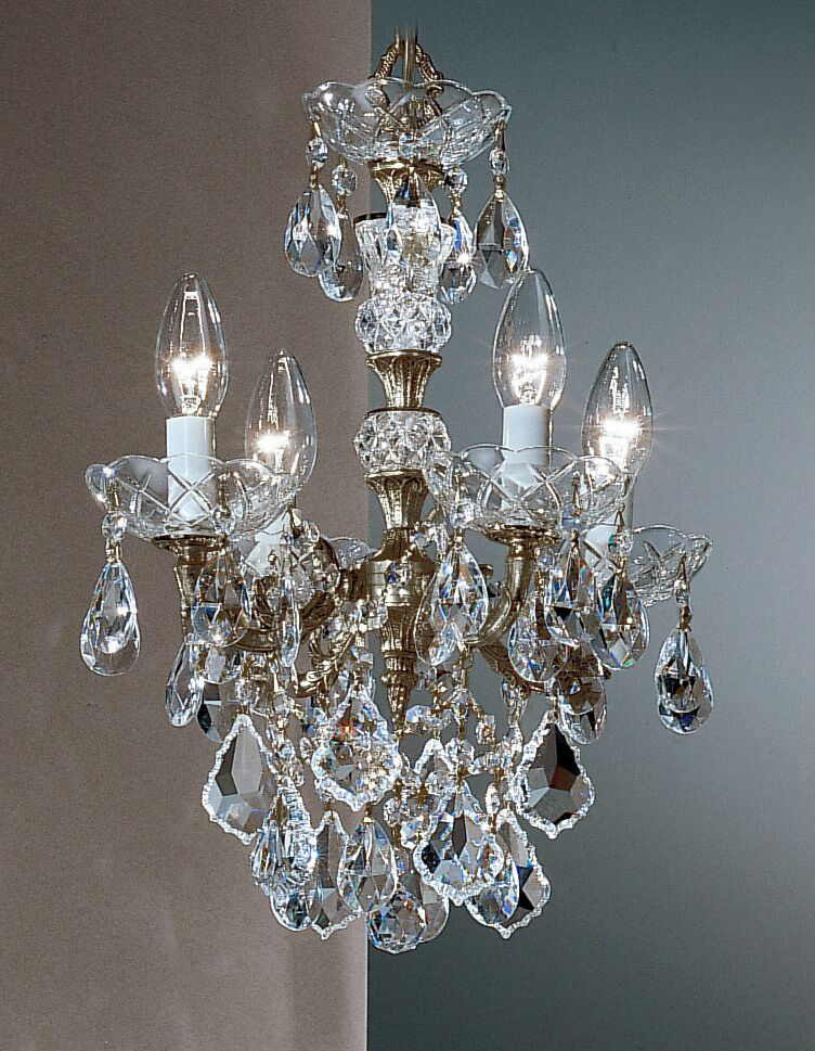 Madrid Imperial 4-Light Candle Style Chandelier Crystal Type: Crystalique Golden Teak, Finish: Roman Bronze