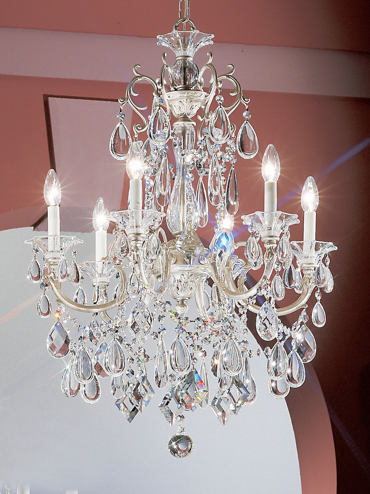Via Venteo 6-Light Candle Style Chandelier Crystal Type: Swarovski Elements, Finish: Ebony Pearl