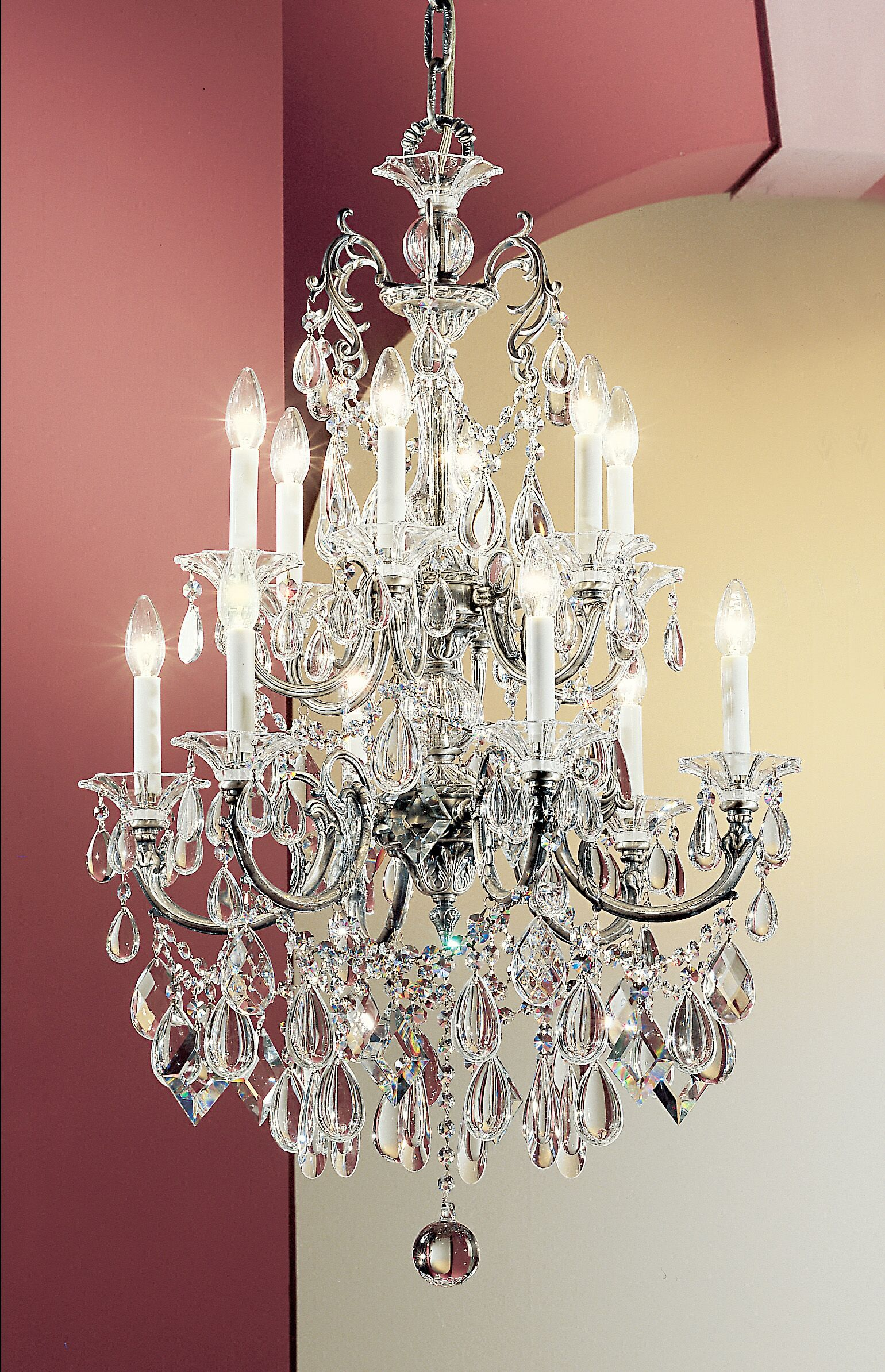 Via Venteo 12-Light Candle Style Chandelier Crystal Type: Swarovski Elements Golden Teak, Finish: Millenium Silver