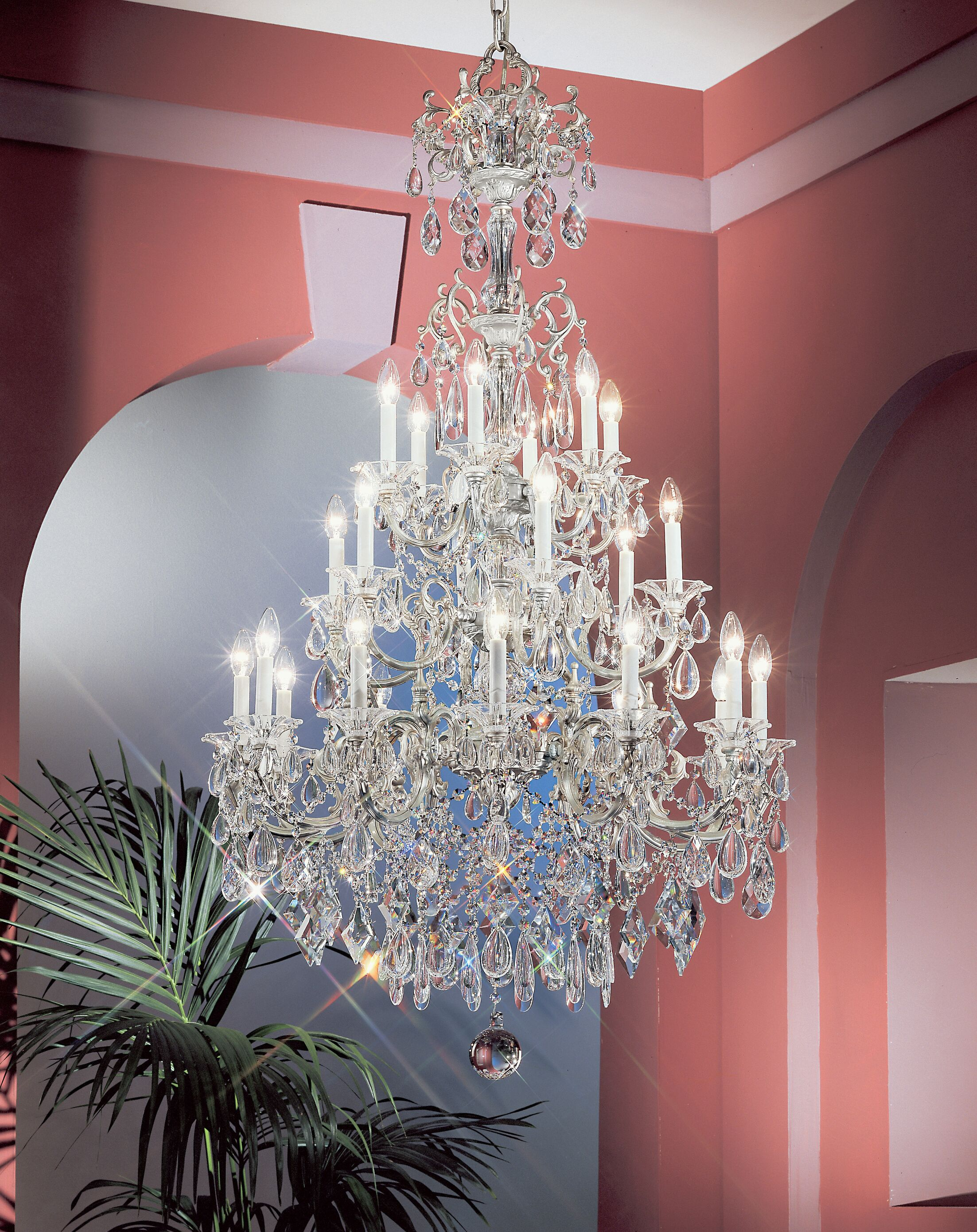 Via Venteo 24-Light Candle Style Chandelier Crystal Type: Crystalique, Finish: Silverstone