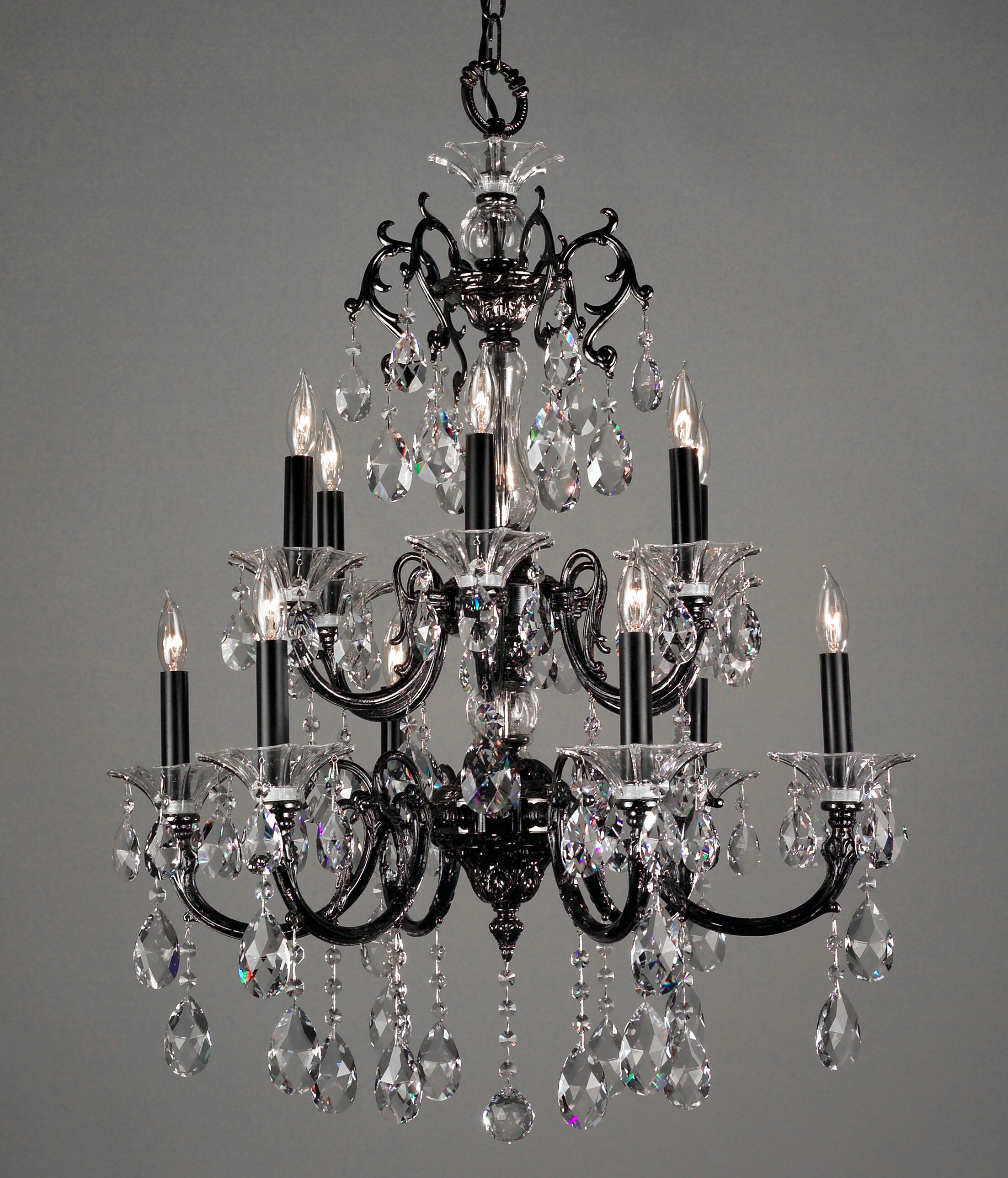 Via Lombardi 12-Light Candle Style Chandelier Crystal Type: Swarovski Elements Golden Teak, Finish: Roman Bronze