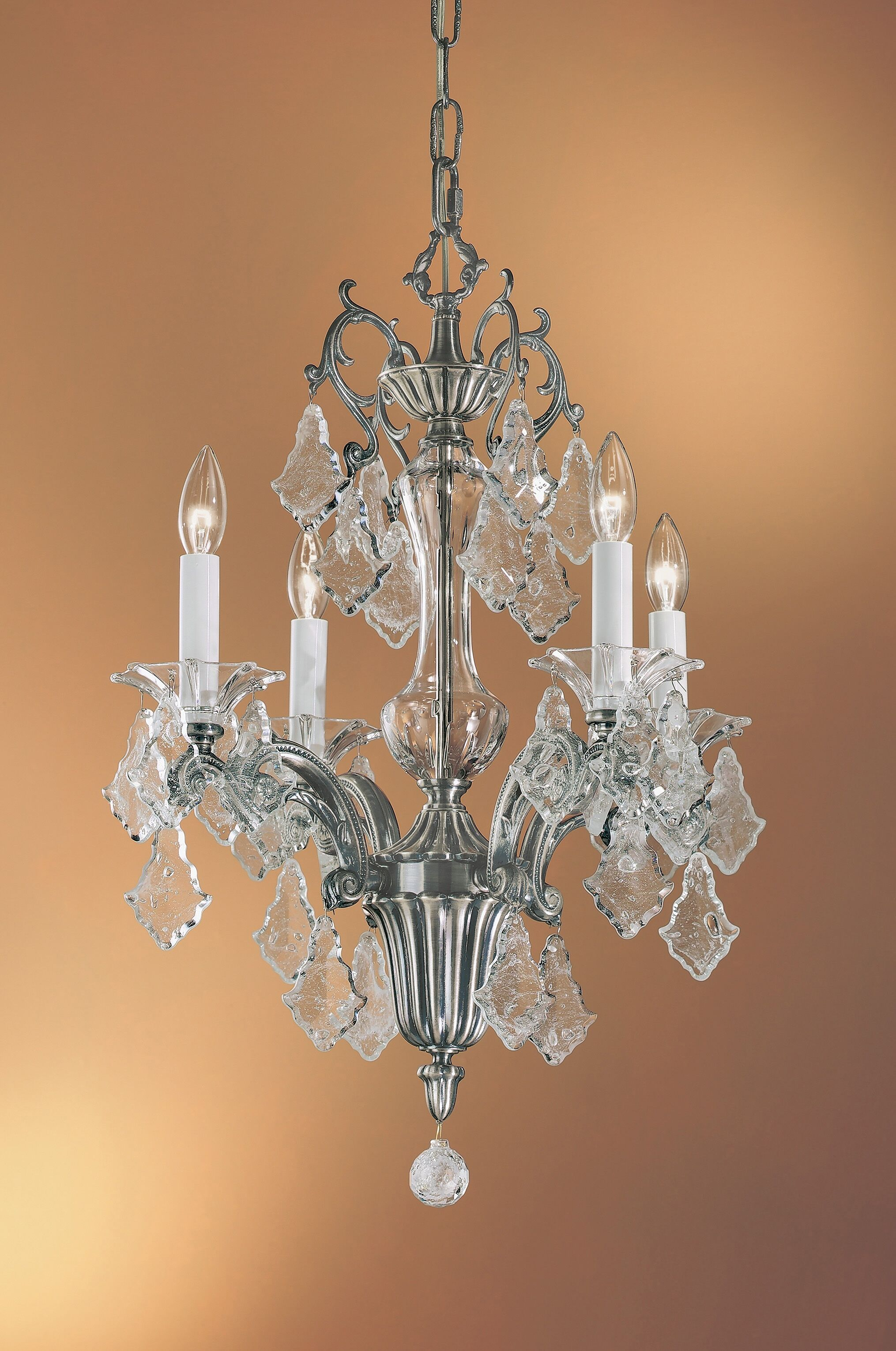 Via Firenze 4-Light Candle Style Chandelier Crystal Type: Italian Rock Clear, Finish: Millenium Silver