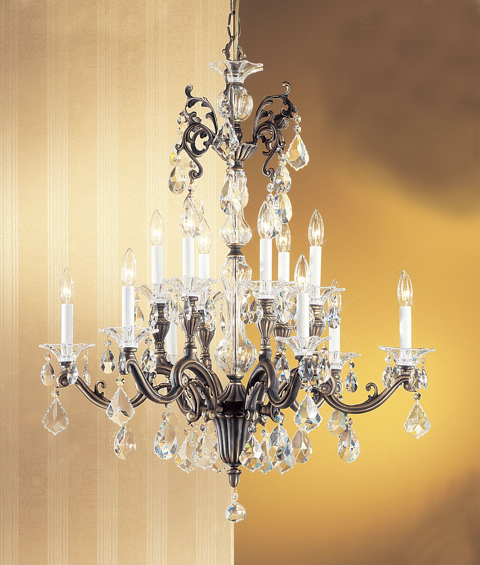 Via Firenze 12-Light Candle Style Chandelier Crystal Type: Crystalique, Finish: Roman Bronze